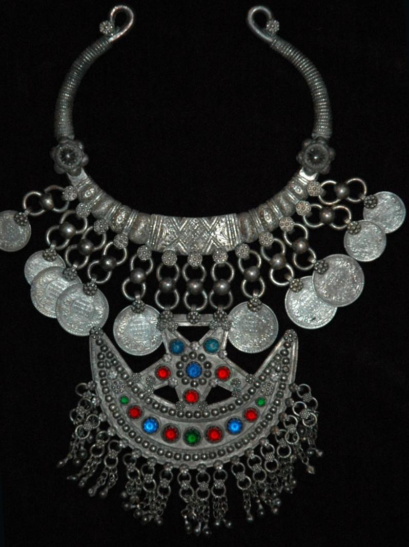 Silver neckpiece, Pakistan, early to mid 20th century.