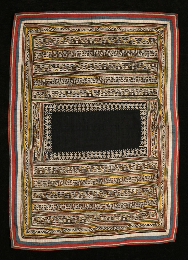 Yao silk and cotton woman's head cloth, Guangxi, China, early 20th century.