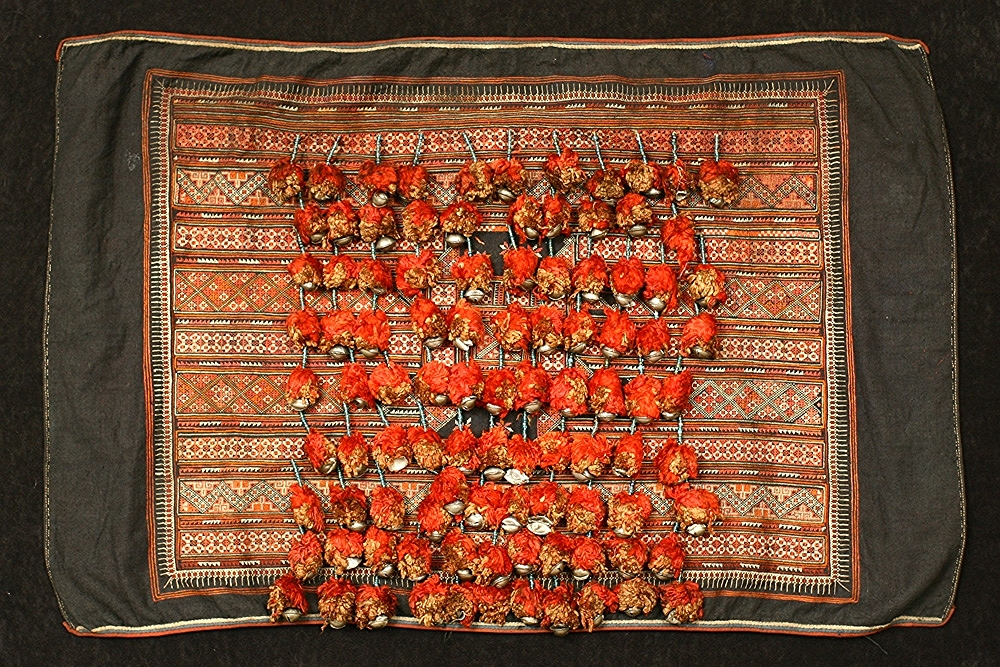 Yao silk and cotton head cloth, Guangxi, China, circa 1900.