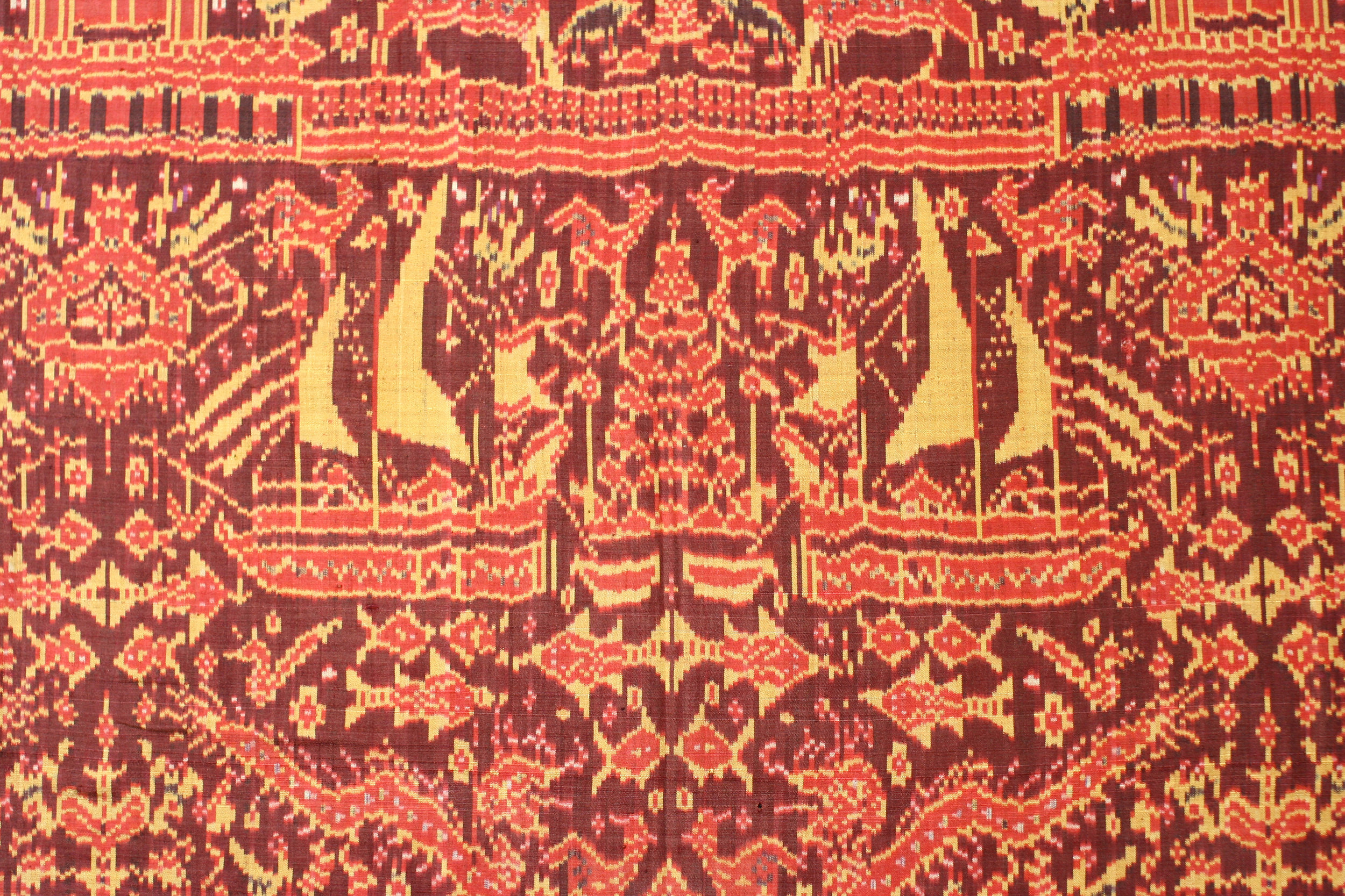 Silk ikat ships cloth, Cambodia, late 19th century.