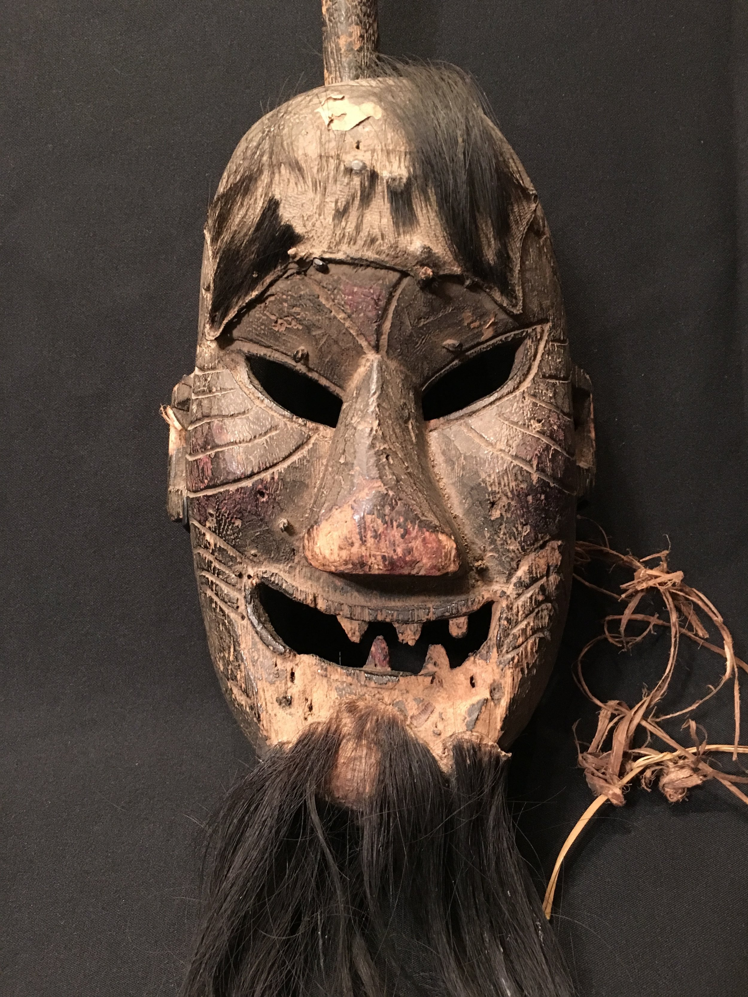 Yao priest or shaman's ceremonial wood mask, China/northern Thailand or Laos, late 19th century.