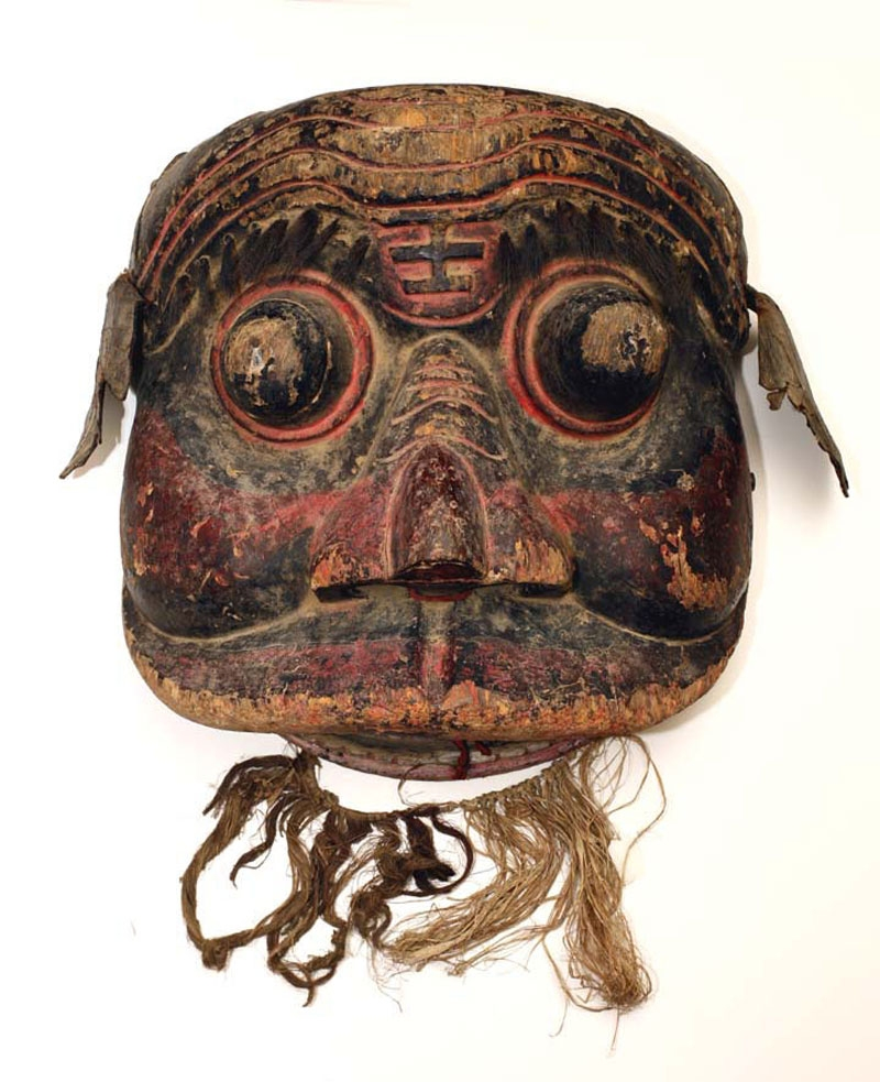 Polychromed wood foo dog processional mask, China, 18th/19th century.