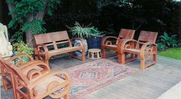 Set of Anglo-Burmese teak chairs, circa 1930s.