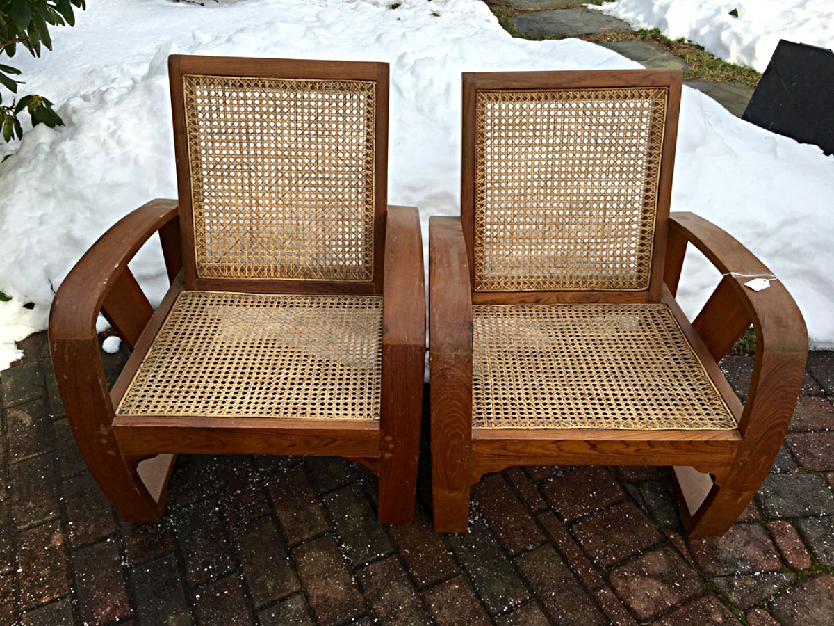 Pair of Anglo-Burmese teak wood chairs, circa 1930s.