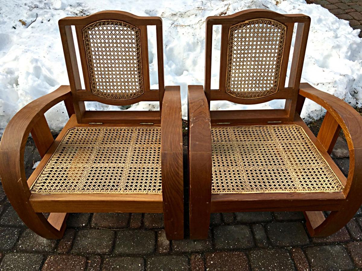 Pair of Anglo-Burmese chairs, circa 1930s.