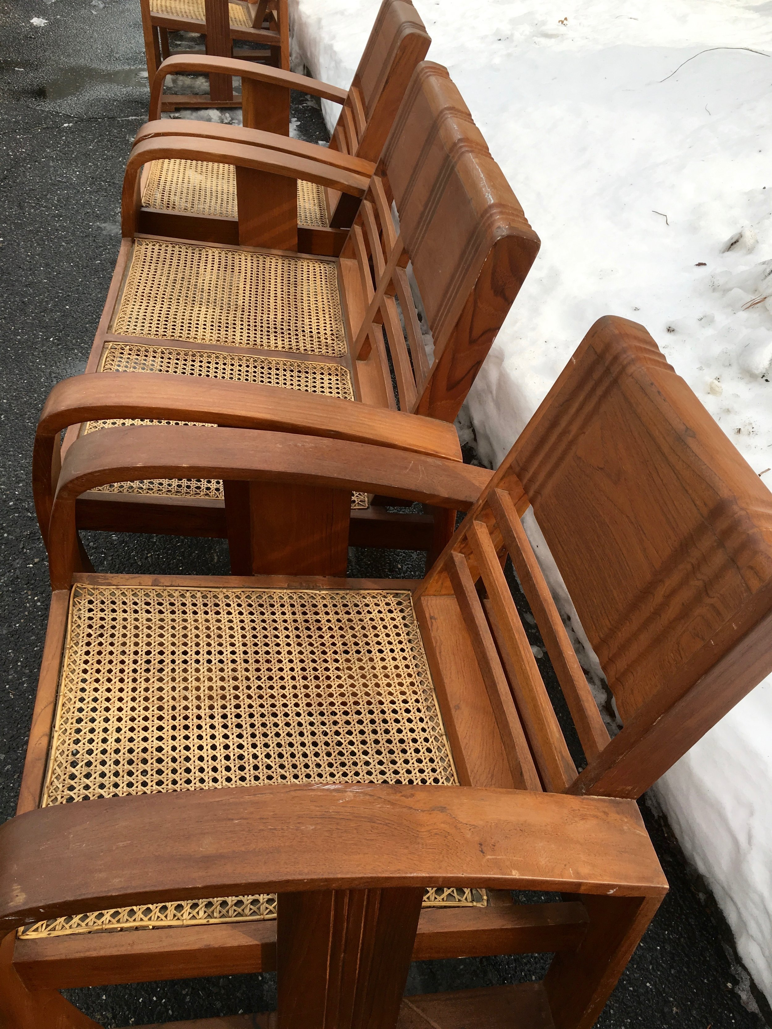 Pair of Anglo-Burmese teak wood chairs and a bench, circa 1930s.