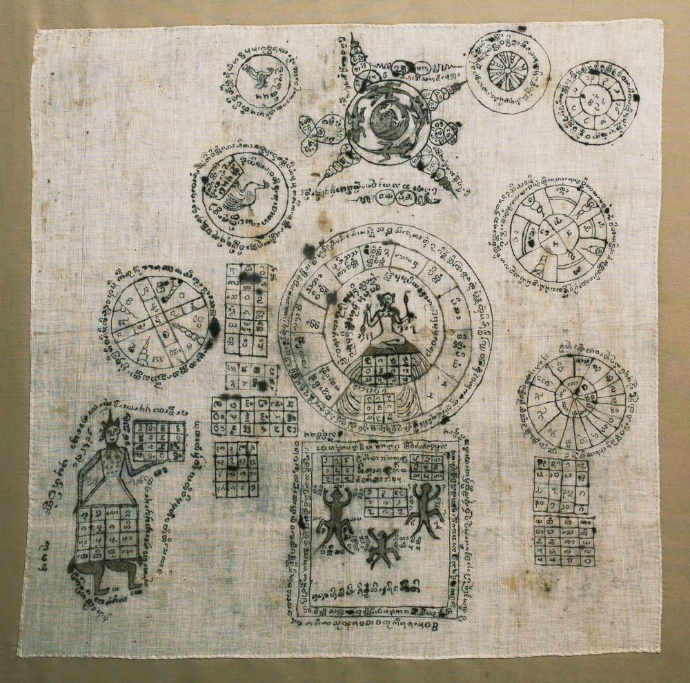 Yantra drawing on cloth, Lanna, Burma or Siam, circa 1900.