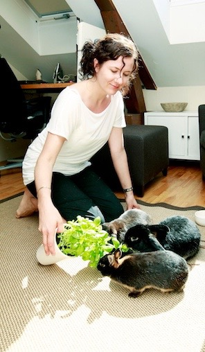 I am with my three rabbits Petter, Harald and Melis