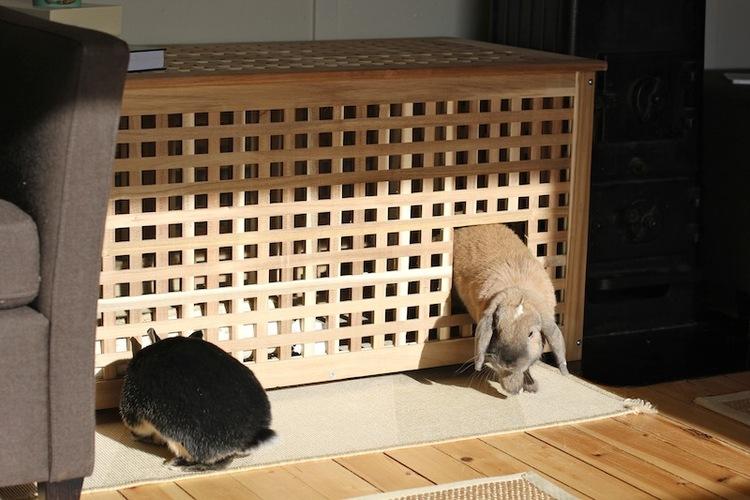 Vi har kaninhol i stuen, eller retteresagt, vi har bordet Hol fra Ikea. Lav to åbninger i til døre og få et populært hus, som de kan sove i eller hav deres toilet og hø i.