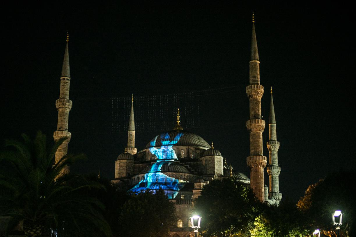 The Blue mosque under a light show.