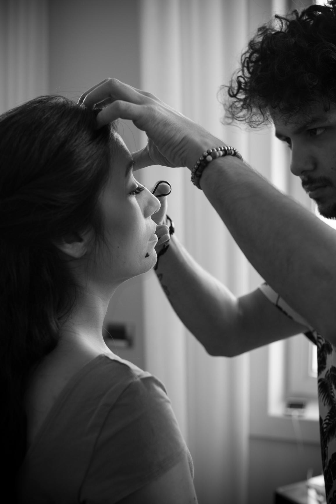 Bridal preparation photo session