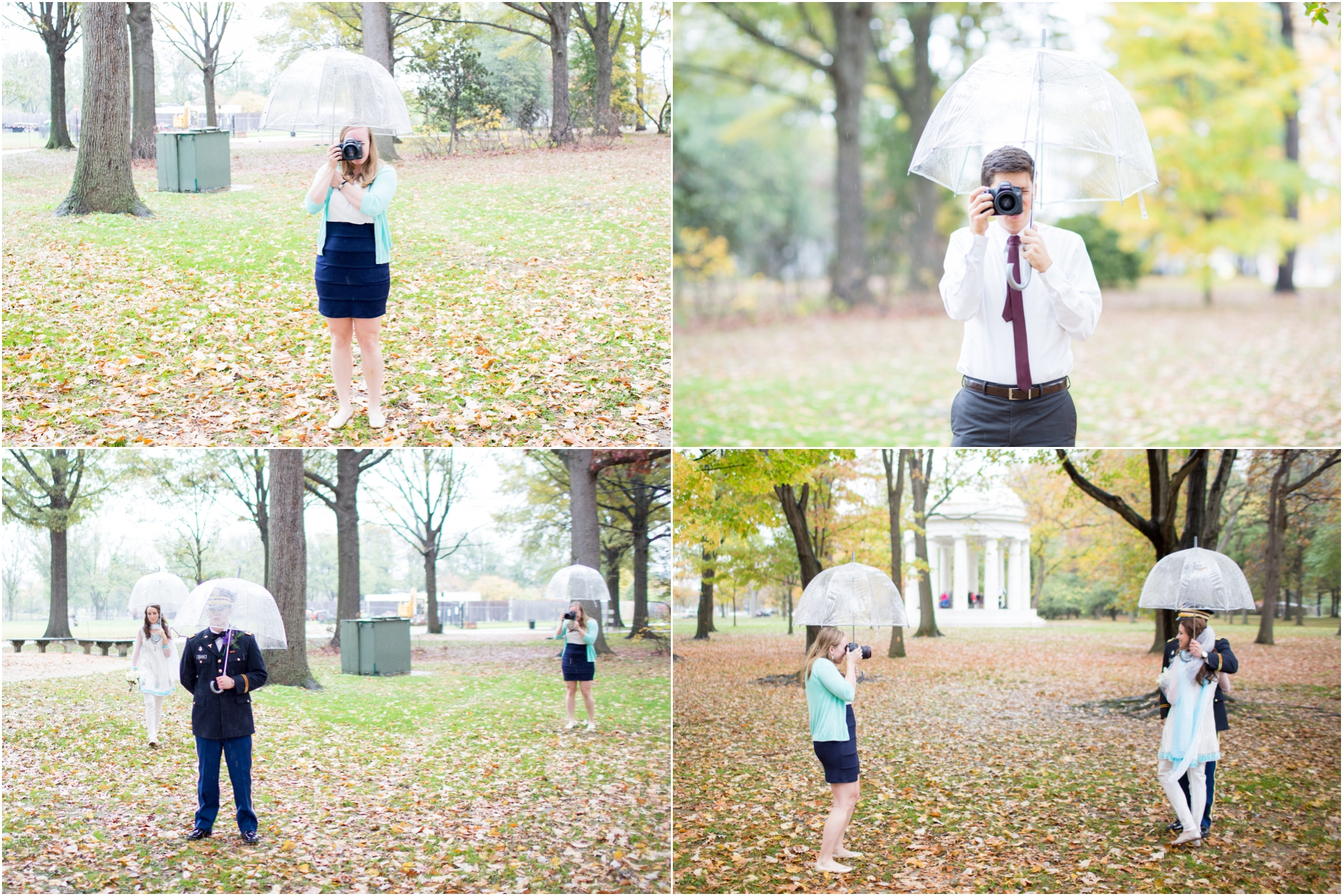 Shooting with one hand while holding an umbrella in the other is harder than it looks!