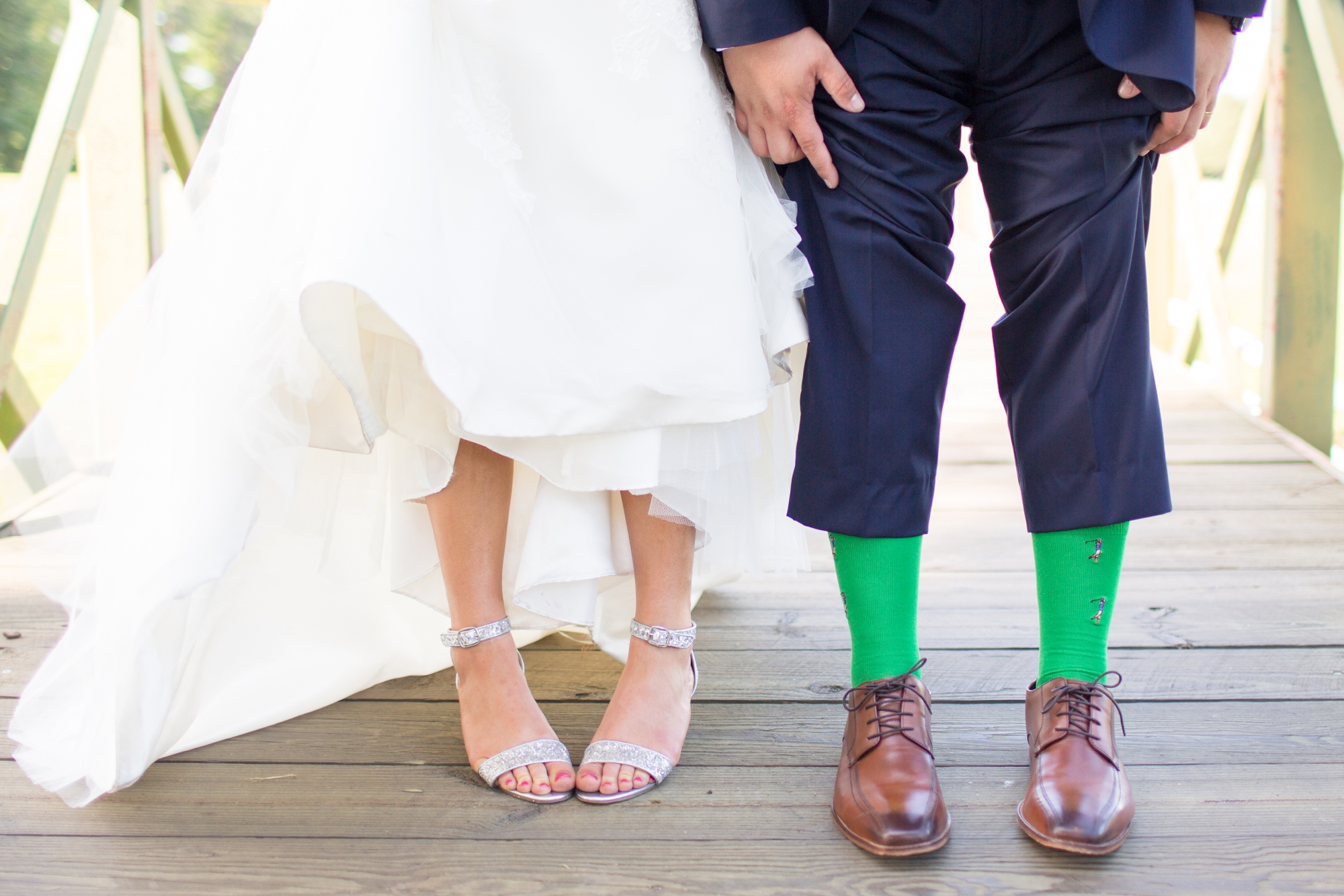Kevin has golfers on his socks! Perfectly fitting that their reception was at a Golf Club!