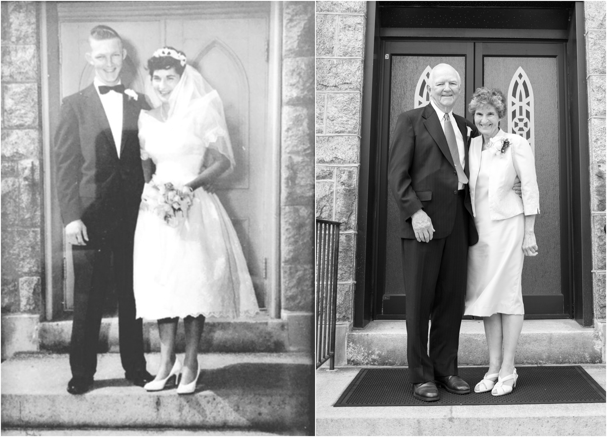 The picture on the left is Bethany's grandparents wedding day in 1956 at the same church and the picture on the right was on Bethany's wedding day, 60 years later. Amazing!!