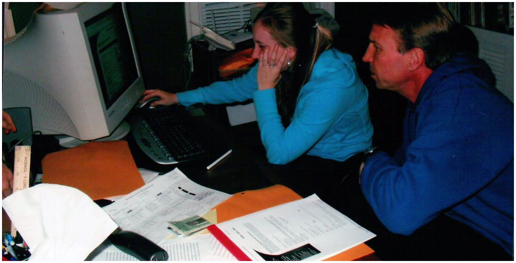 College applications! Yikes look at the computer it is so old.
