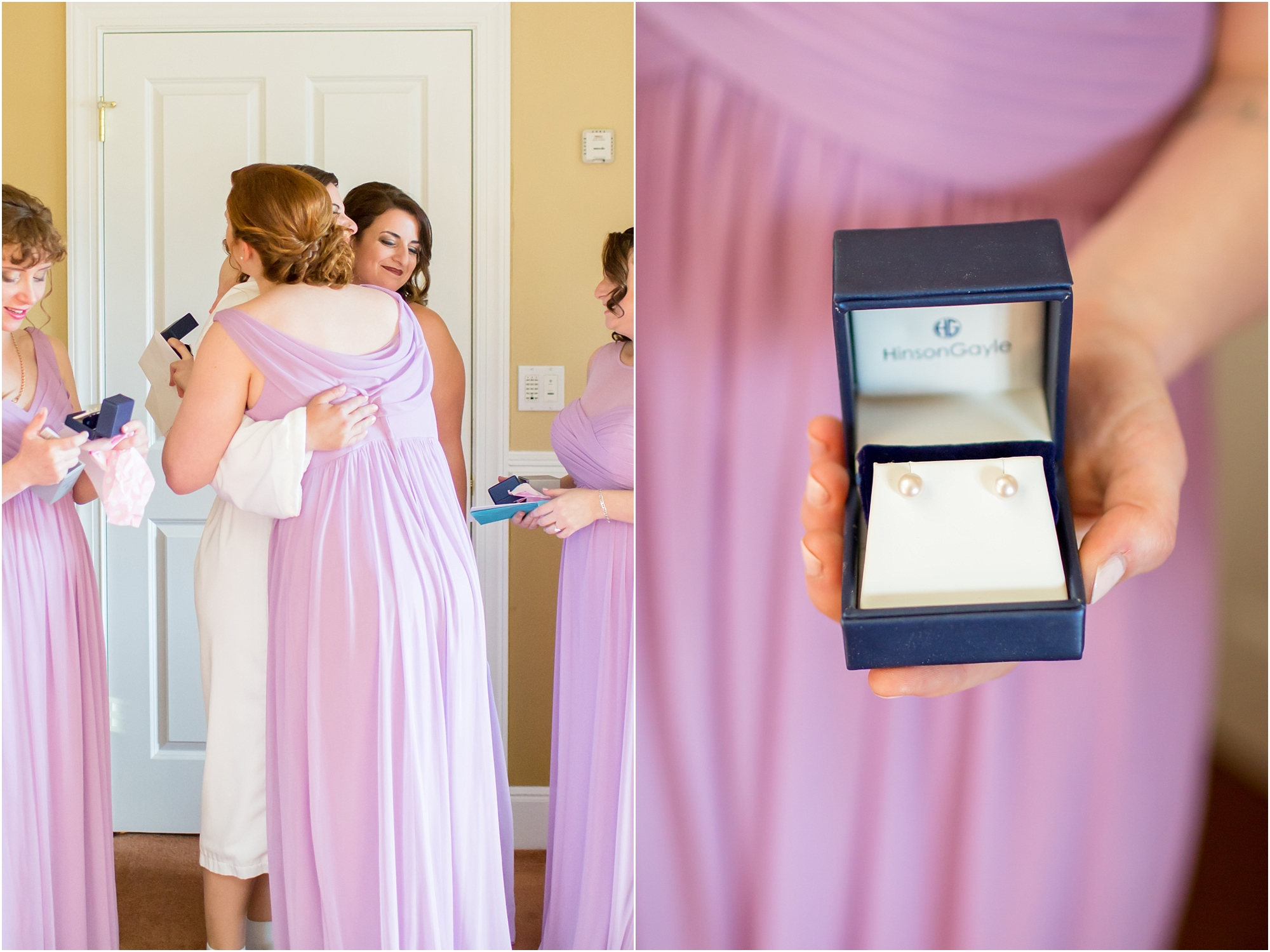 Janet gave each of the girls a set of pearls as a bridesmaid gift. So sweet!