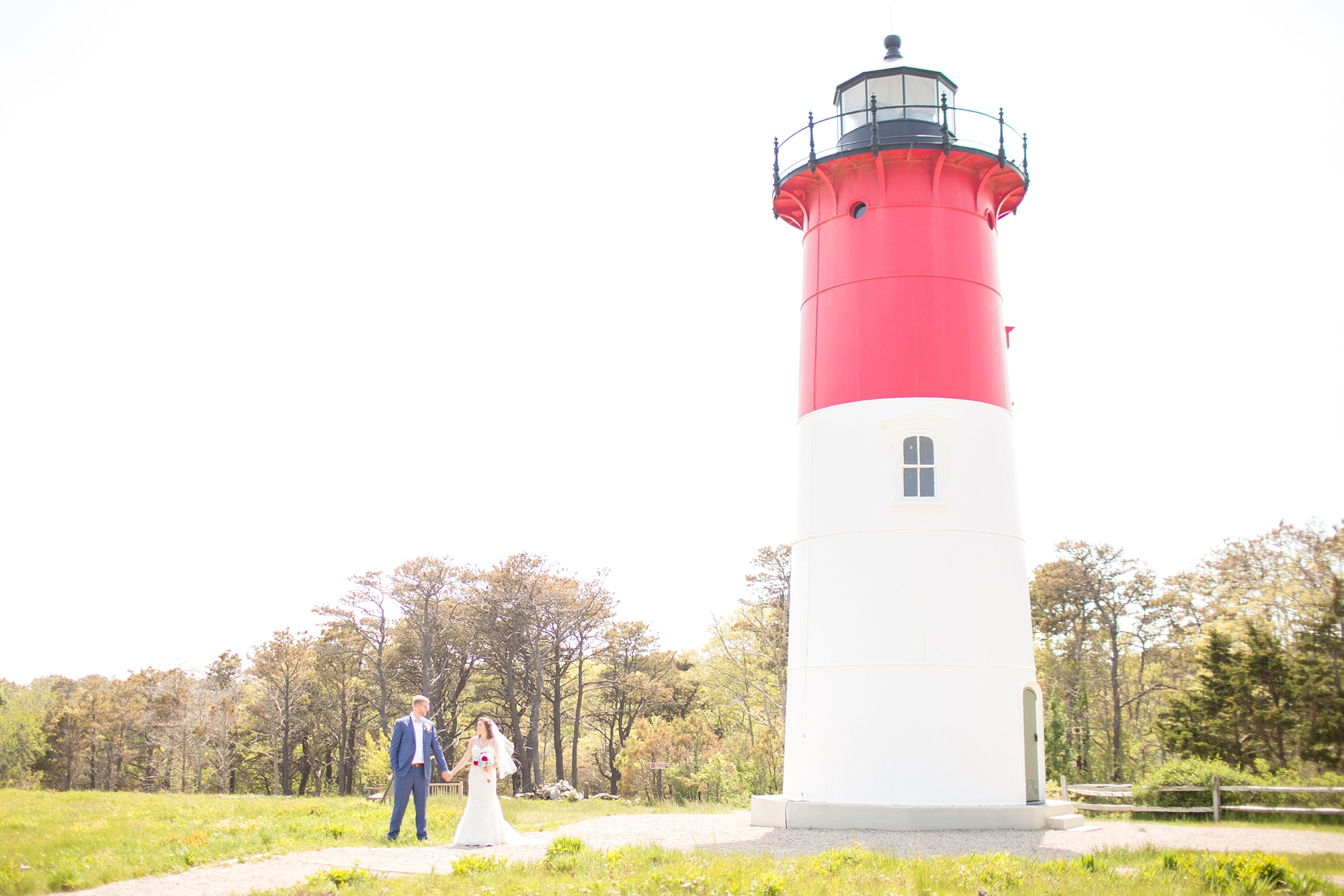 Yay for a lighthouse that matched the wedding colors!