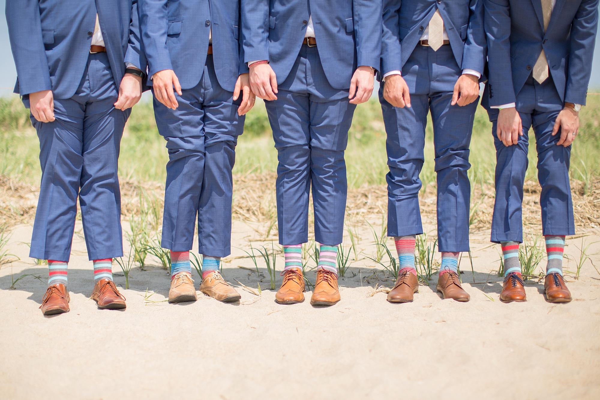 The groomsmen rocking the fun socks!