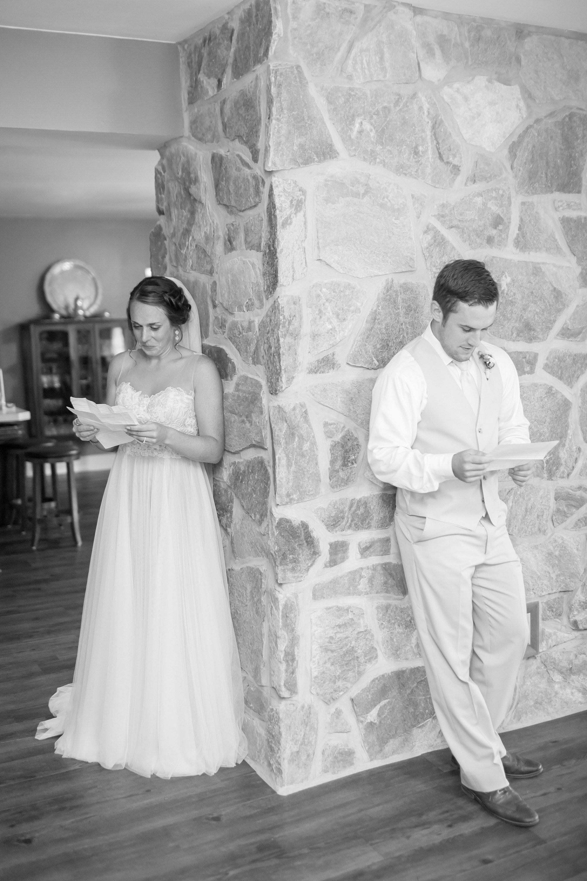Reading letters from each other before seeing each other at the ceremony!