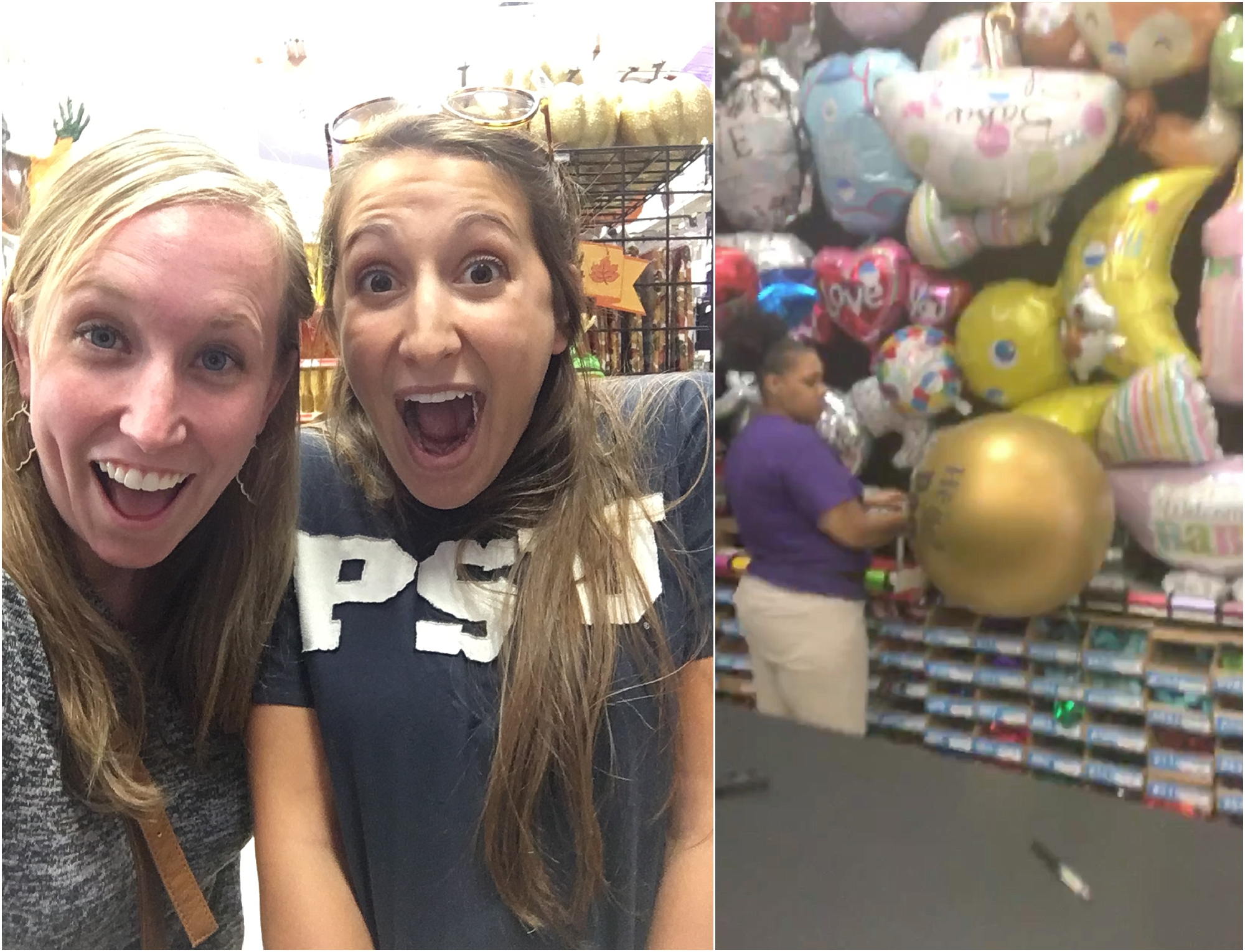 Filling up the balloon at party city with Han!