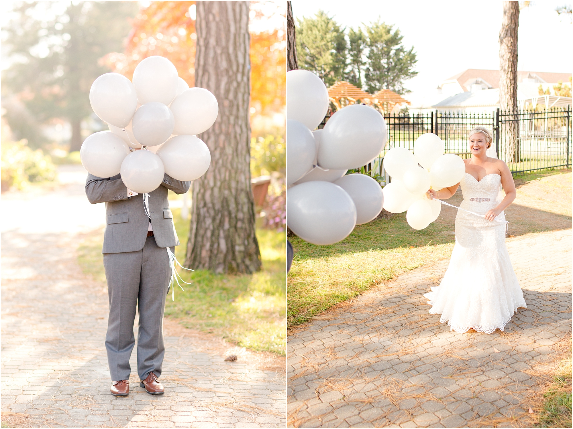 The both held a bunch of balloons and then let go of them when they did their first look. So cute!
