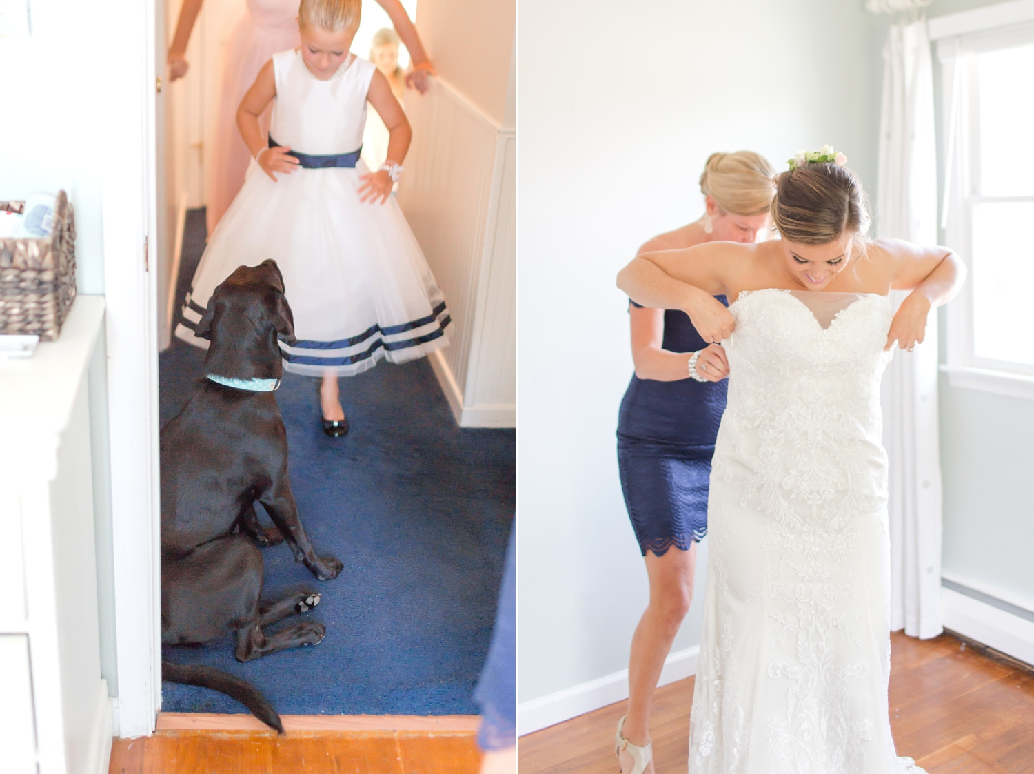 Sweet pup was waiting for Allie outside of her door while she was putting her dress on!