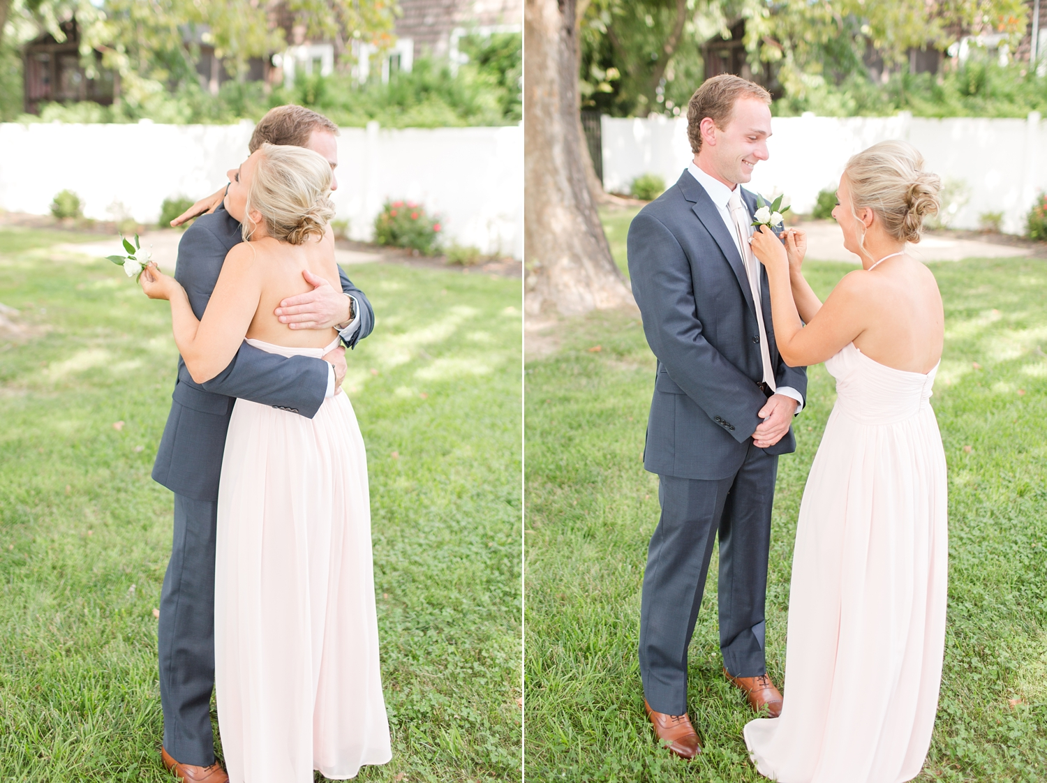 Tommy's twin sister helped him put on the boutonnière. Such a special moment!
