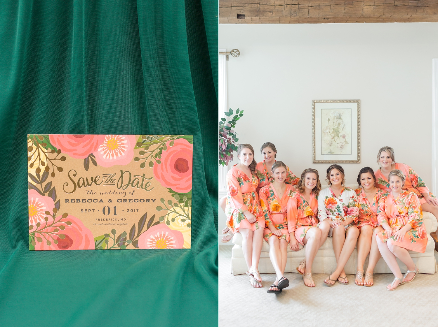 These adorable robes go perfectly with your wedding palette, Rebecca!