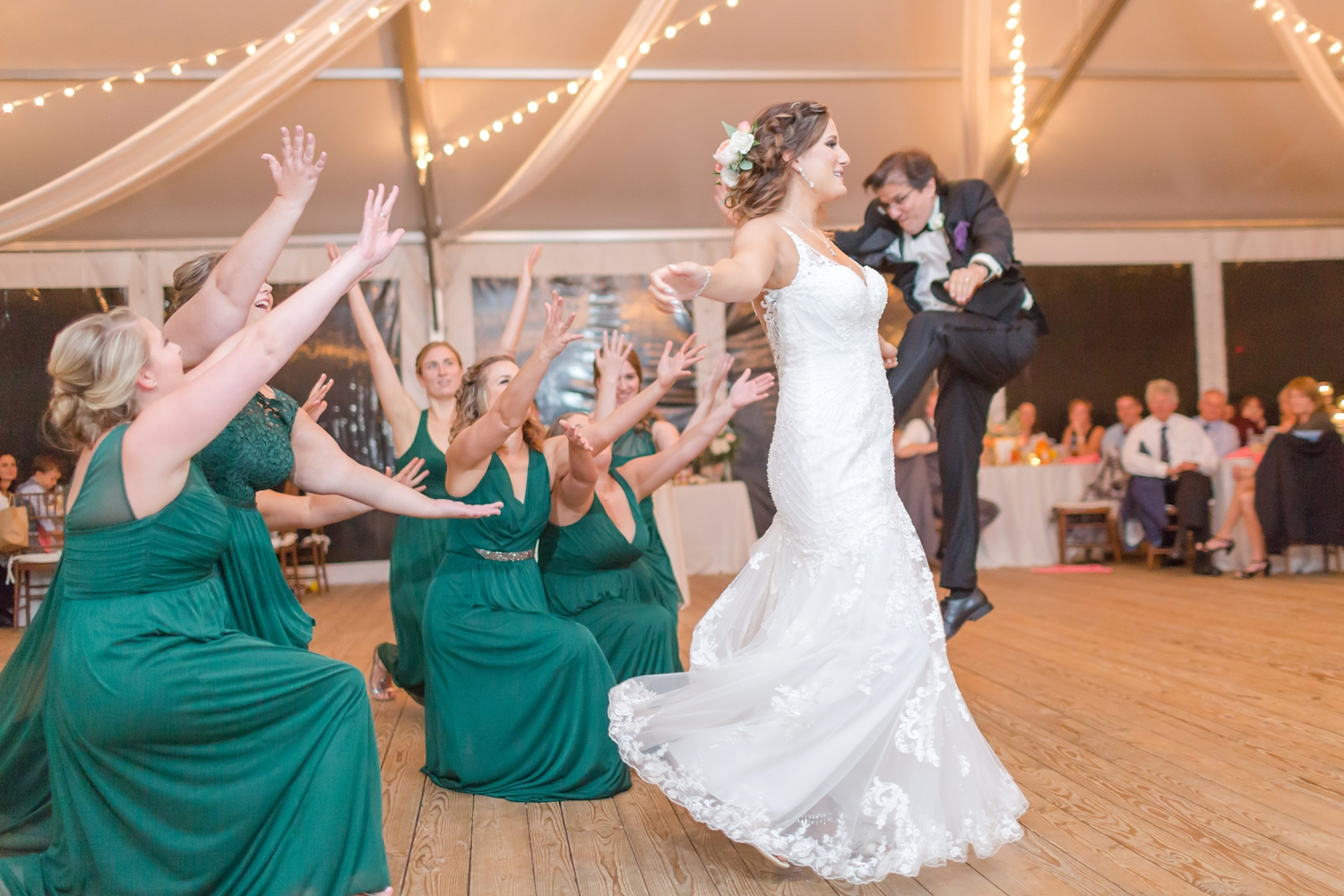 Halfway through Rebecca's dance with her dad the bridesmaids joined them on the dance floor and this moment happened! So awesome!