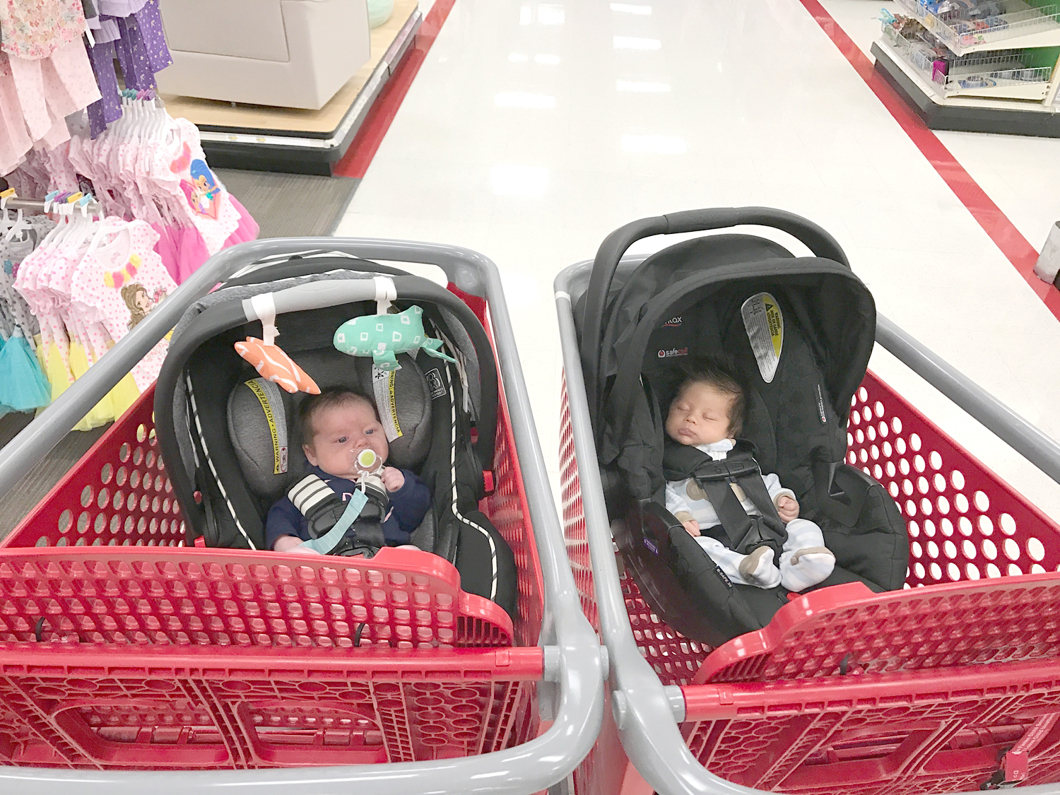 First Target trip!! It was great except it was so windy outside and my cart blew into the street with the carseat in it. I looked like an idiot running after it haha!