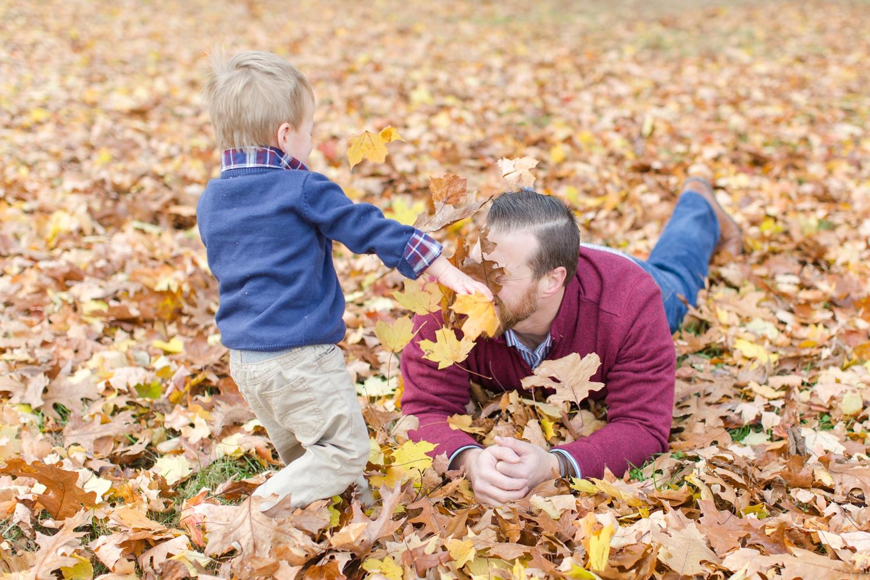 "We said, ""Throw leaves at Daddy!"" Haha!"