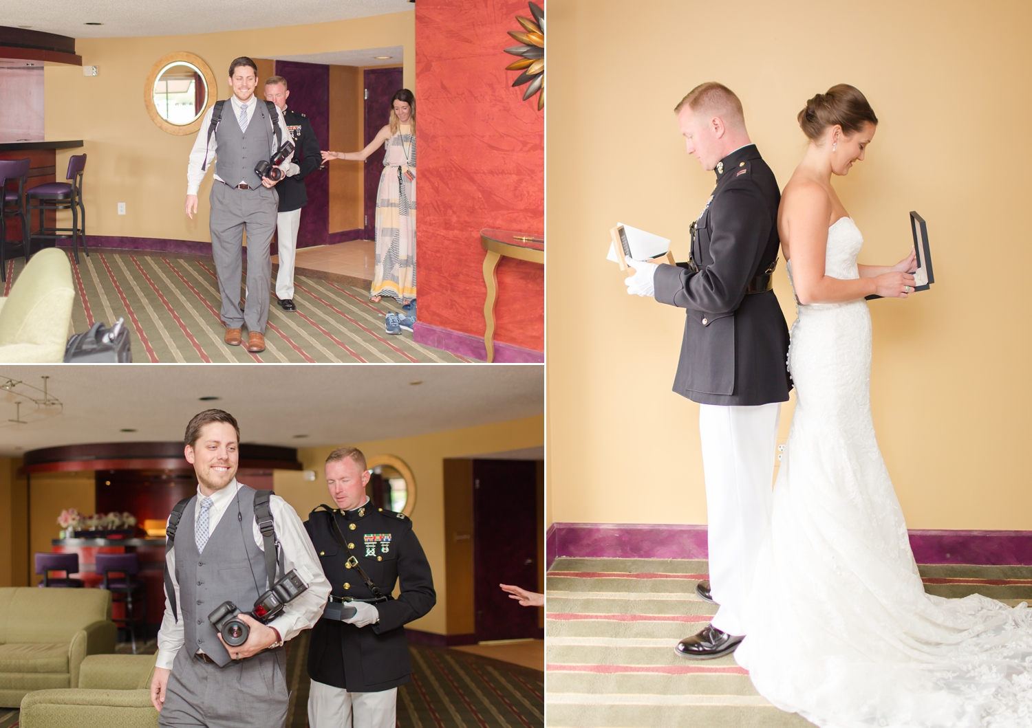 John kept his eyes closed while Kevin led him to exhange gifts with his bride before their First Look. So adorable!