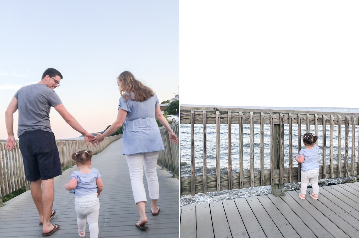 The last night we went out to dinner and walked on the boardwalk. Payton loved running on it!