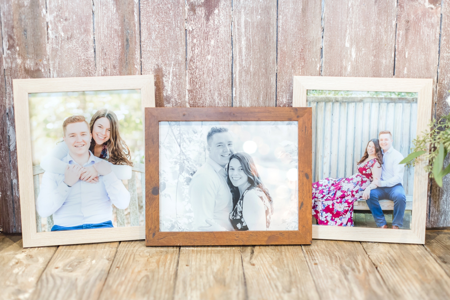 I love when the engagement pictures get framed as decor for the wedding. Adorable!