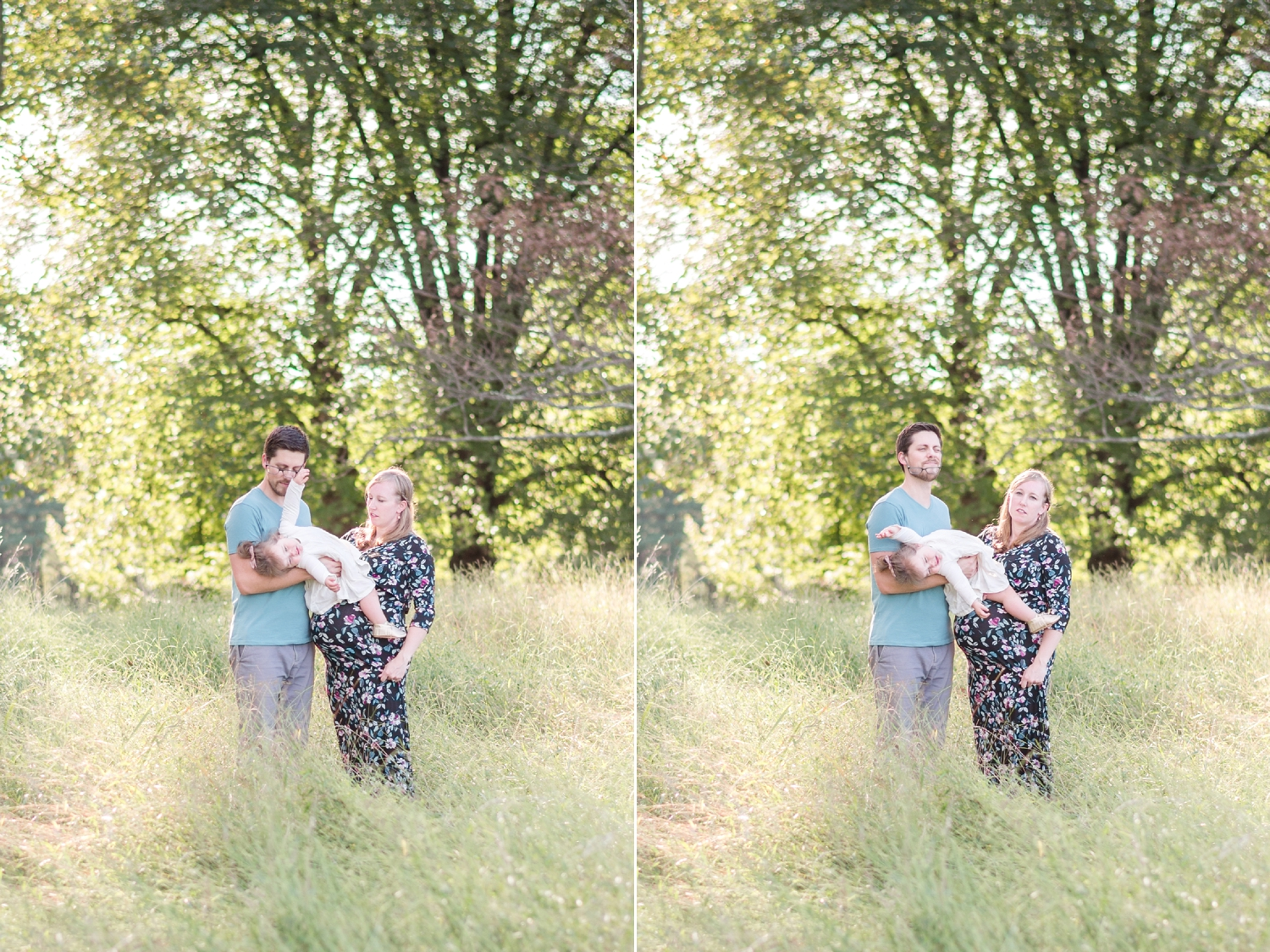 Yep, every family shoot! A baby trying to wrangle free and throwing a tantrum. And Payton knocked Kevin's glasses off of his head. Haha!!