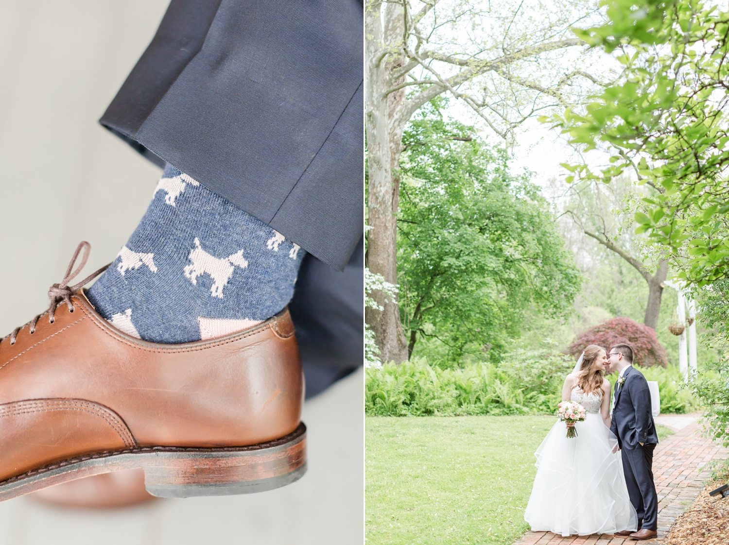 Chris loves dogs,  especially their pup Harper , so these were the perfect wedding socks!