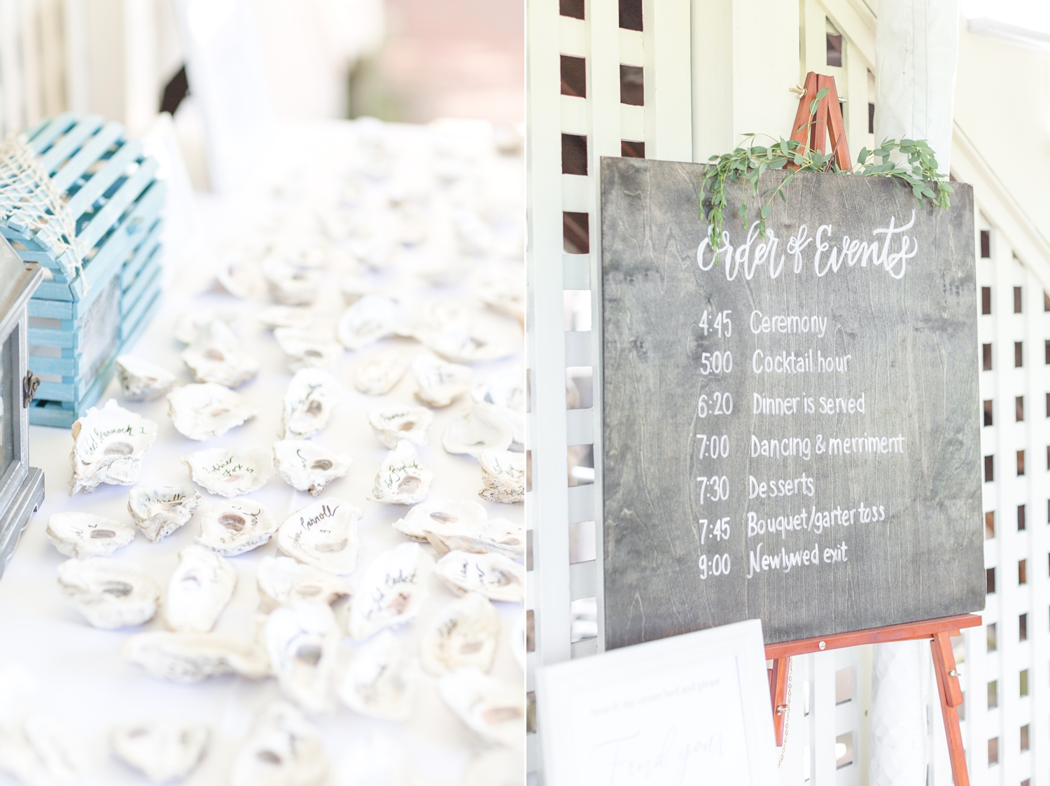 Love this idea with the oysters place cards! So creative.