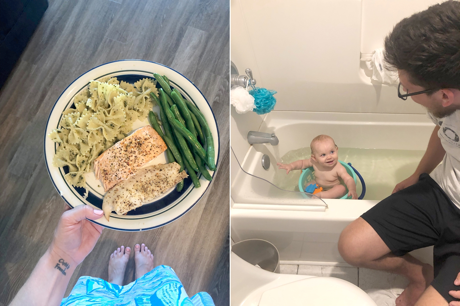 We made dinner in most nights because it was much cheaper and healthier! But don't get me wrong, we got delicious pizza and burgers one night! I also didn't want to bring the baby bath tub so we used a big beach bucket that held all the toys. It worked perfectly!!