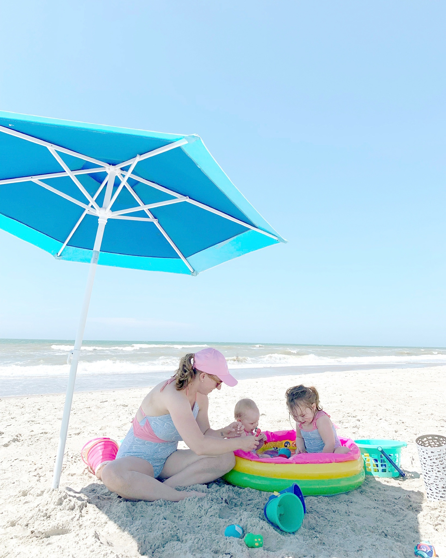 Having the small baby pool hands-down was the best thing we brought. So cheap and the best thing for toddlers because they can play in the water and sand without going on the ocean. I got ours at Big Lots for $5 but they sell them everywhere!
