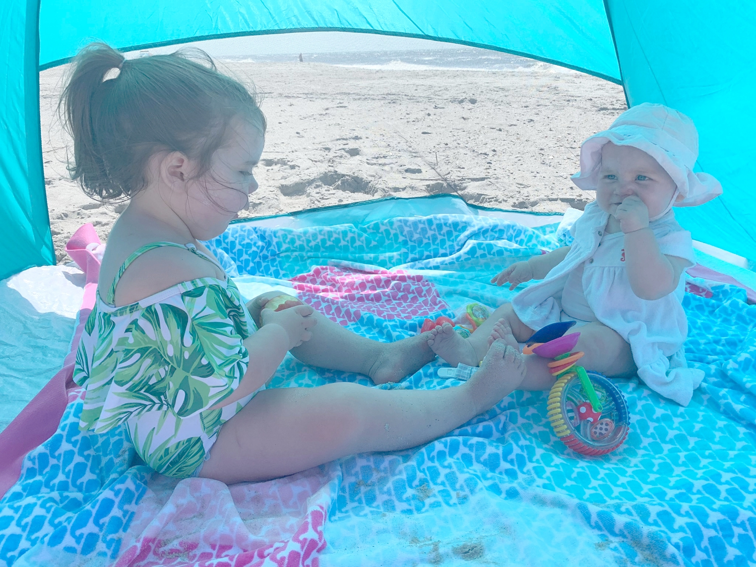 The amazing shaded beach tent! Hallie took a nap in here every morning.