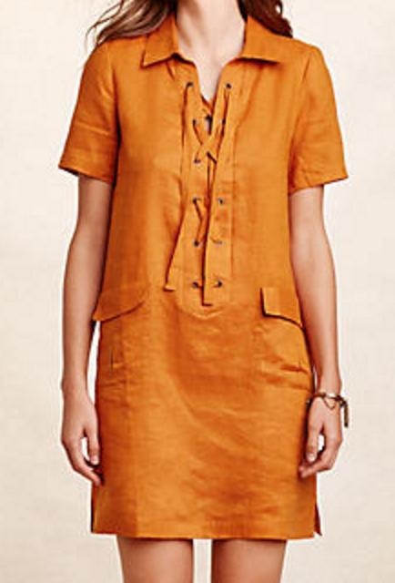 lace up linen dress