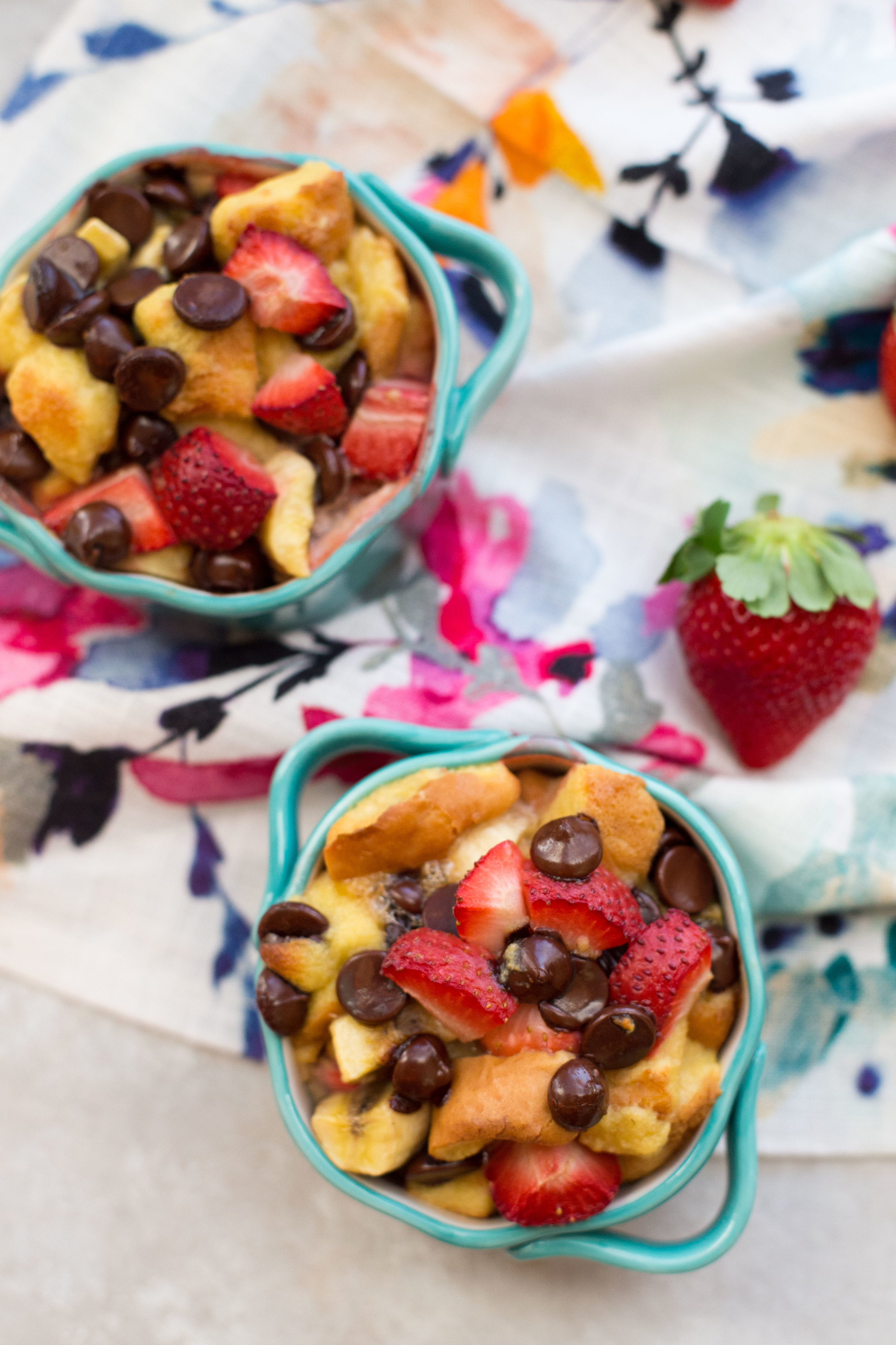 If you're making dinner at home, or going out for a meal and returning home for drinks and dessert this Valentine's Day, this recipe for Strawberry Banana Bread Pudding for two is so easy anyone can handle it.