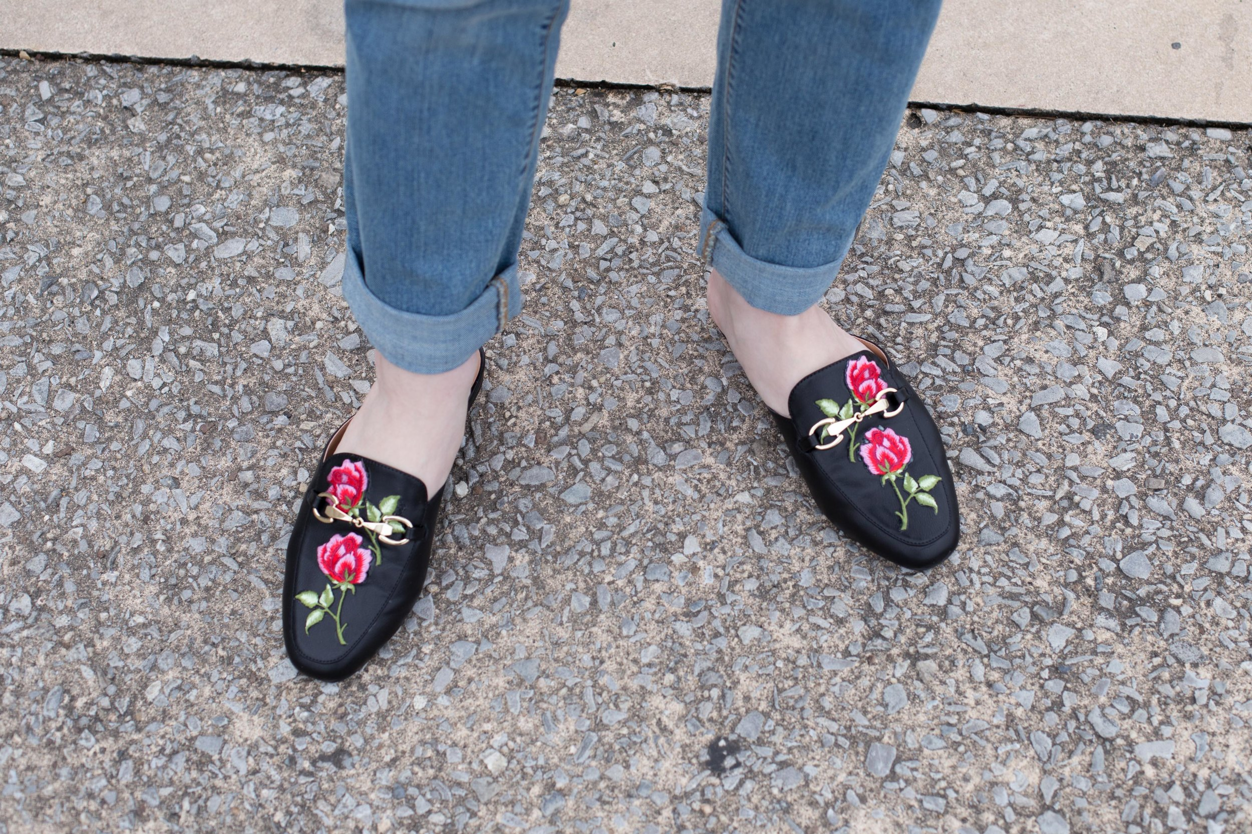 Taking a stab at the embroidered slip-on loafer trend in these Gucci dupes. They go perfectly with a boyfriend jean and a simple blouse!