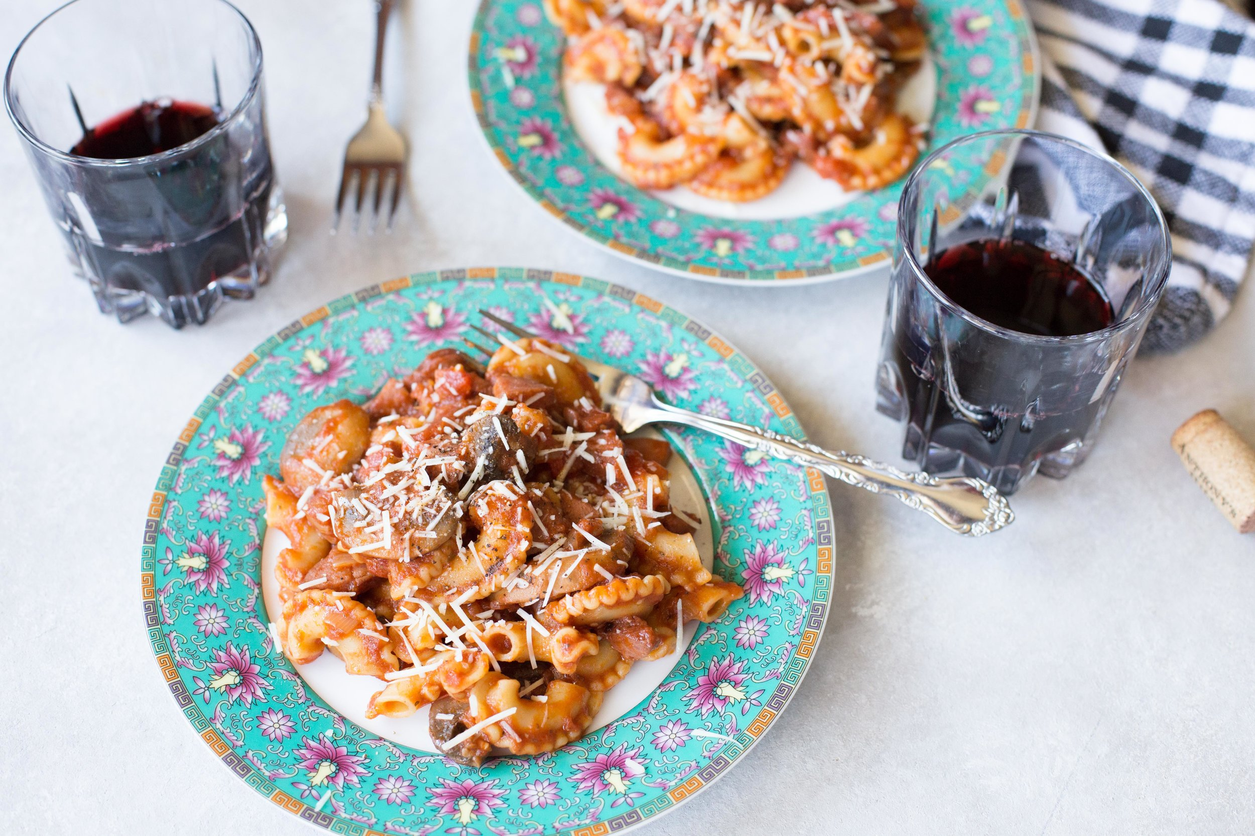 This recipe for kielbasa pasta with mushrooms and homemade marinara sauce is delicious fresh from the pot or as leftovers!