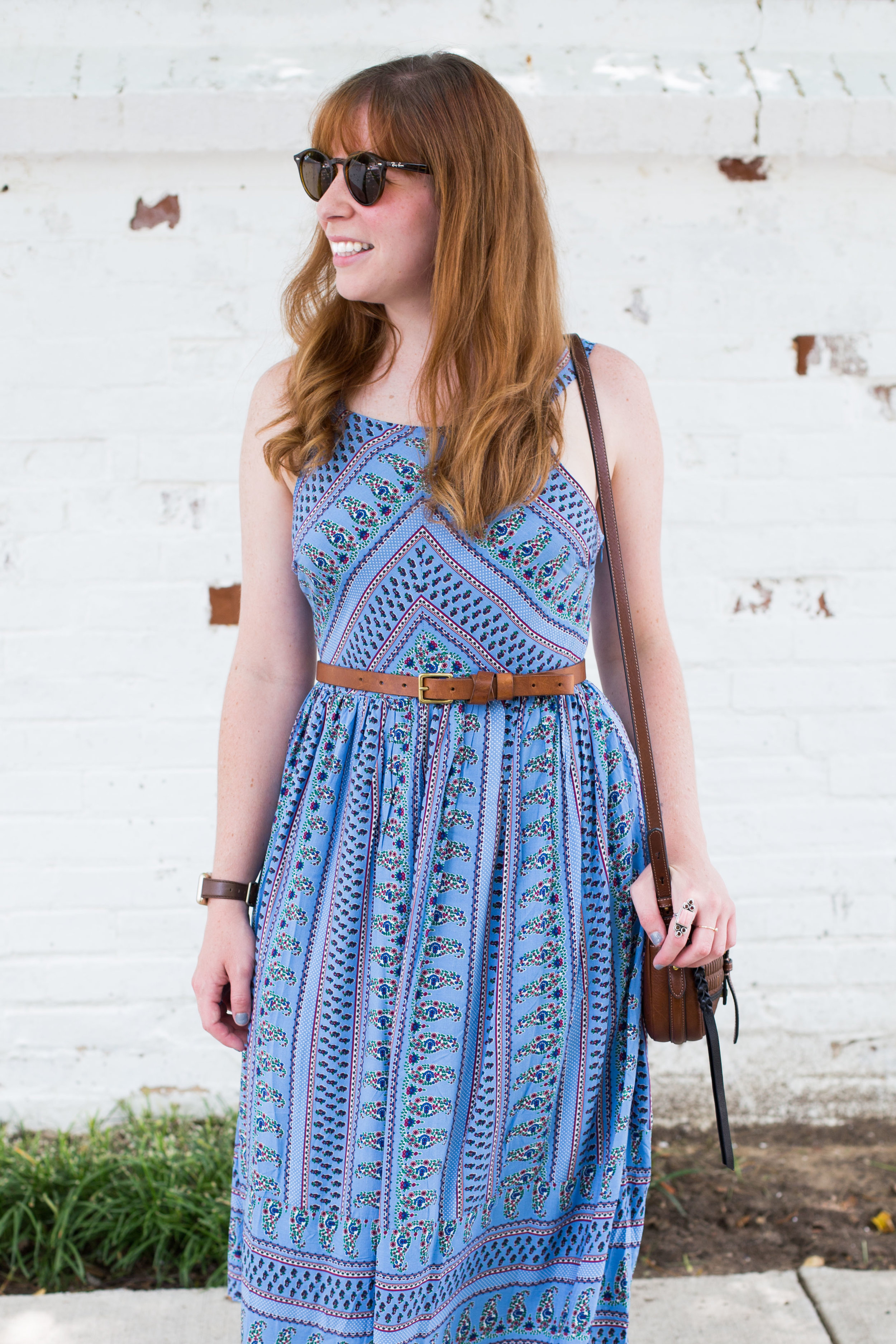The perfect little blue summer sundress by Everly along with my favorite Fossil bag and Madewell belt.