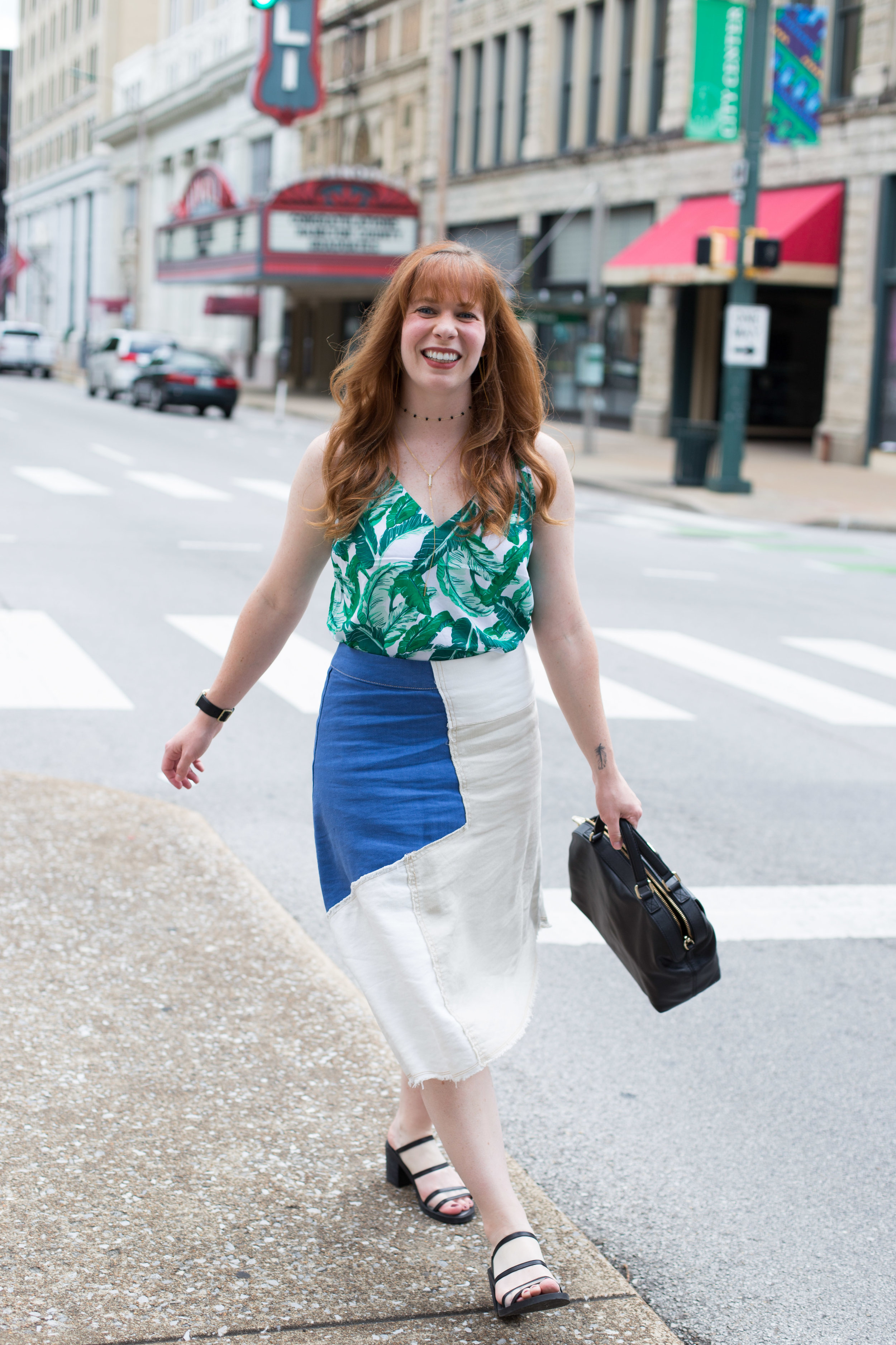 This palm printed shirt and patchwork denim skirt are two of my favorite things in my closet!