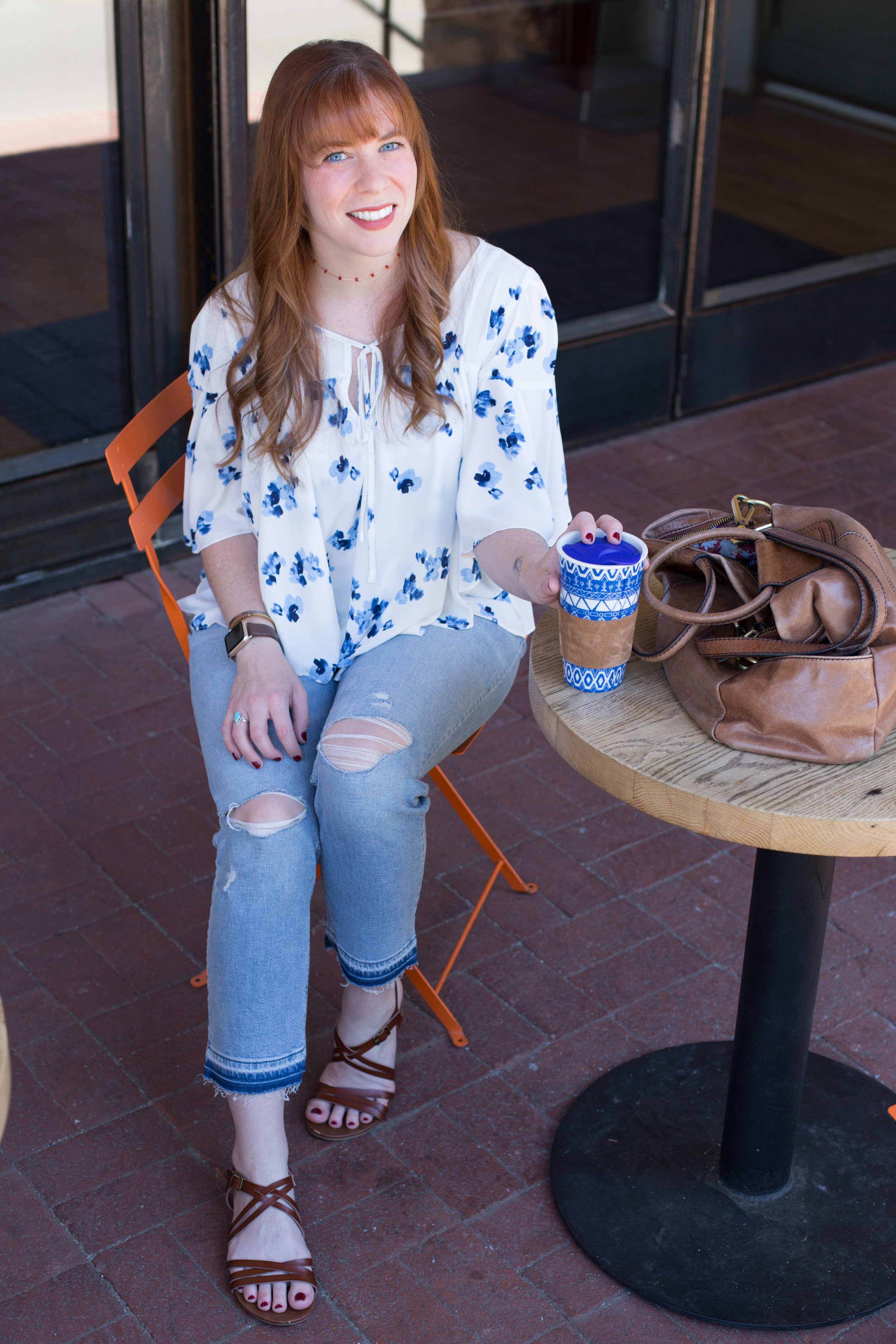 This floral top is one of my easy, breezy favorites. I love to pair it with these distressed cropped jeans!