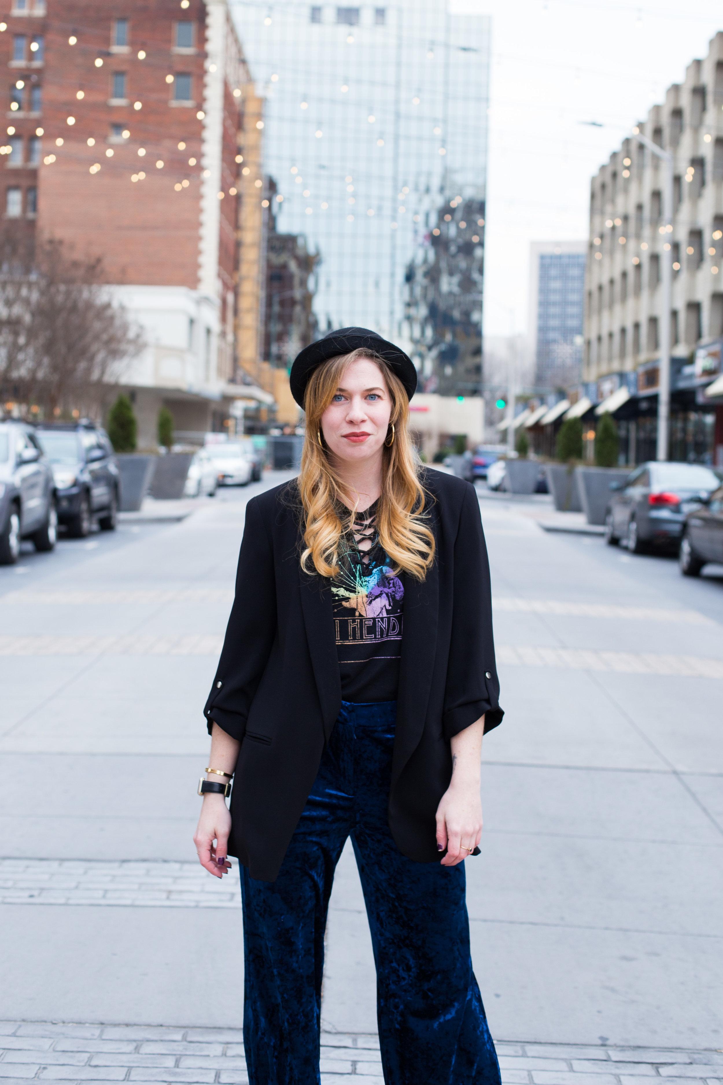 Blue Velvet Pants. Jimi Hendrix Shirt. Black Derby Hat.