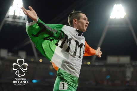 3 September 2012; Ireland's Michael McKillop, from Newtownabbey, Co. Antrim, celebrates after winning the men's 1500m - T37 final in a time of 4.08:11. London 2012 Paralympic Games, Athletics, Olympic Stadium, Olympic Park, Stratford, London, England. Picture credit: Brian Lawless / SPORTSFILE *** NO REPRODUCTION FEE ***