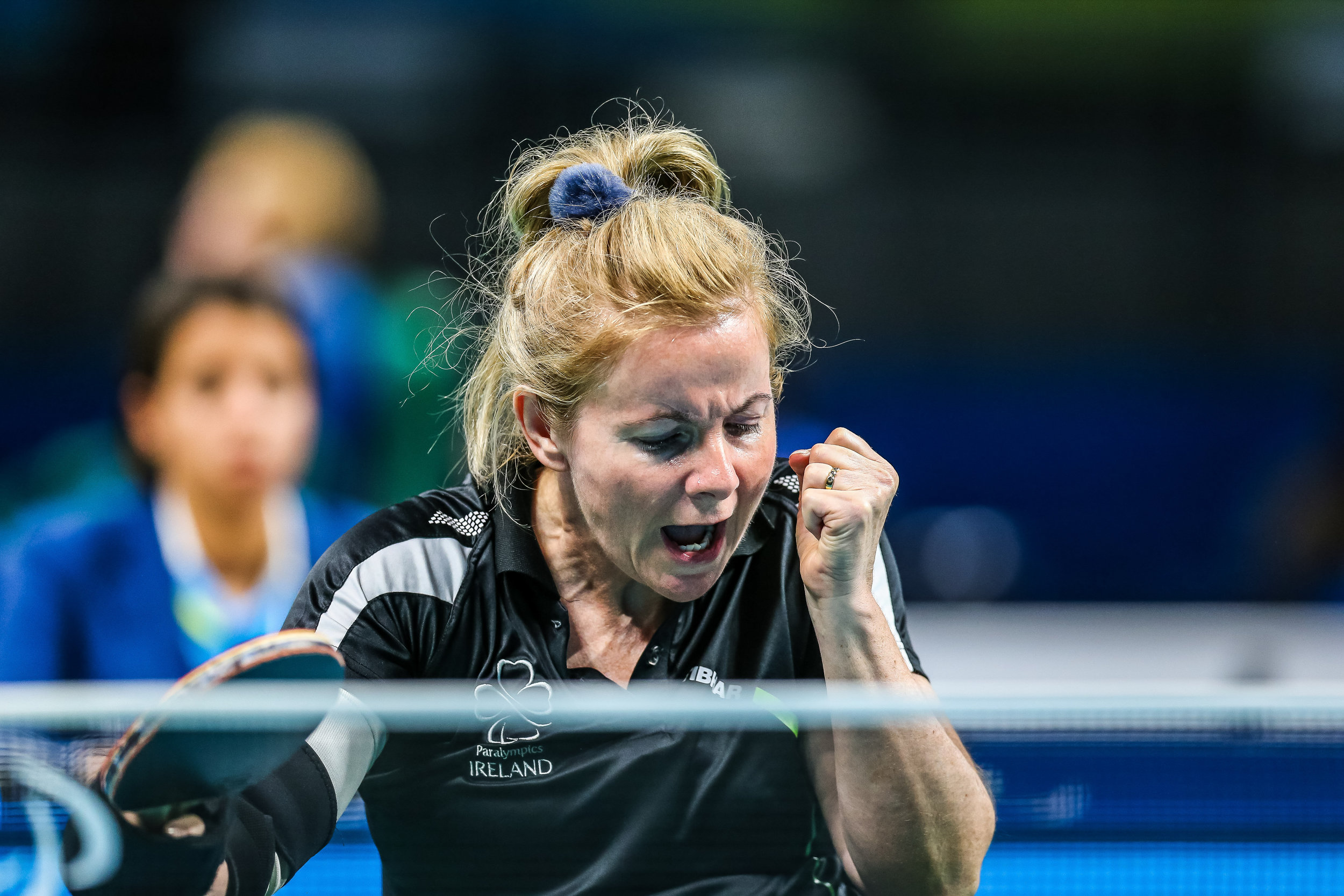 Table Tennis: Rena McCarron Rooney celebrates her win at the SF1-2 Women's Singles Qualifier